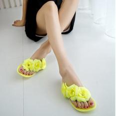 Harga Kemenangan Camellia Flat Sandal Musim Panas Jelly Sepatu Wanita Kuning Intl Original