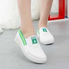 Ulasan Lengkap Kemenangan Fashion Sneakers Ladies Olahraga Sepatu Kain Han Edisi Rendah Berjalan Berjalan Sepatu Hijau Intl