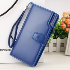Review Kemenangan Han Edisi English Baru Multi Fungsi Dompet Ritsleting Panjang Gesper Hand Bag Biru