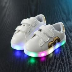 Kemenangan Baru LED Lampu Pacuan Kuda M Alphabet Anak-anak Sepatu Warna-warni Lampu Sepatu Anak Laki-laki dan Perempuan Sneakers (Emas) -Intl