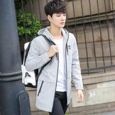 Kemenangan Baru Pria Jaket Fashion Medium Length Thin Coat Casual Fashion Kantor Hooded Jaket Ringan Jaket (Putih) -Intl