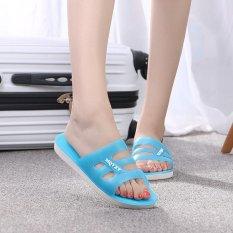 Diskon Kemenangan Baru Ayat Satu Kata Wanita Sandal Flat Bawah Transparan Crystal Jelly Slipper Biru Tiongkok