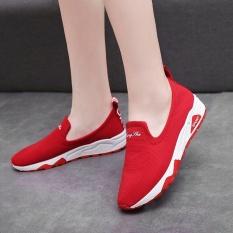 Kemenangan Baru Wanita Kanvas Bernapas Sport Sepatu Datar Sepatu Kasual Sepatu Lari Sepatu Kets (Merah)-Intl