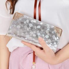 Kemenangan Baru Womn Bagian Panjang Zipper Berpegangan Tangan Pola Batu Kecil Handbag Dompet (Perak)