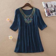 Kemenangan Wanita Fashion Hot Selling Pesanan Bead Bordir Ukuran Besar Wanita Blus (DARK BIRU)-Intl