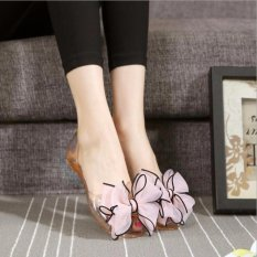 Jual Beli Kemenangan Wanita Jelly Sandal Simpul Is Pantai Datar Sepatu Merah Muda Intl Baru Tiongkok