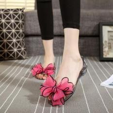 Kemenangan Wanita Jelly Sandal Simpul Adalah Pantai Flat Shoes (Merah)-Intl
