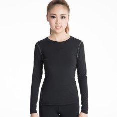 Ulasan Mengenai Kemenangan Wanita Lengan Panjang Lapisan Dasar Ketat Motion Fitness Yoga T Shirt Kelembaban Penyerapan Pakaian Hitam Intl