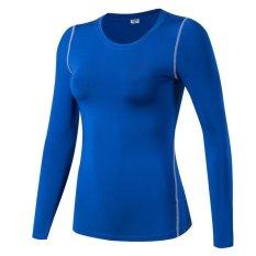Cuci Gudang Kemenangan Wanita Lengan Panjang Lapisan Dasar Ketat Motion Fitness Yoga T Shirt Kelembaban Penyerapan Pakaian Biru Intl