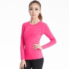 Dapatkan Segera Kemenangan Wanita Lengan Panjang Lapisan Dasar Ketat Motion Fitness Yoga T Shirt Kelembaban Penyerapan Pakaian Rose Intl