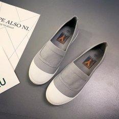 Beli Kemenangan Wanita Fashion Sepatu Datar Balet Flat Round Canvas Shoe Korea Abu Abu Intl Murah