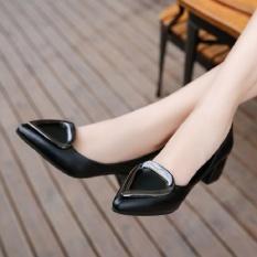 Kemenangan Wanita Baru Menunjuk Mulut Tunggal Dangkal Sepatu Fashion Heart Kasar dengan Lengan Pernikahan Sepatu Sepatu Kecil Pompa (HITAM) -Intl