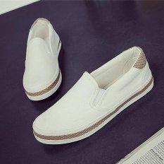Toko Kemenangan Wanita Fashion Sepatu Datar Slip Ons Berjalan Sepatu Kasual Kanvas Permukaan Sepatu Putih Intl Di Tiongkok