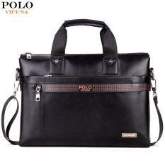 [Flash Sale] VICUNA POLO 6601 Fashion Sederhana Bisnis Pria Tas Tas Kulit Kulit Laptop Casual Man Shoulder Bags-Intl