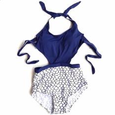 Vienna Linz Baju Renang Wanita Backless Monokini Swimsuits Beachwear Dewasa Swimwear Swimming Suit Olahraga Laut Beach Pakaian Pantai Fashion Sporty Sport Sea Seksi Bahan Polyester dan Terylene s4471 - Biru