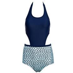 Vienna Linz Baju Renang Wanita Backless Monokini Swimsuits Beachwear Dewasa Swimwear Swimming Suit Olahraga Laut Beach Pakaian Pantai Fashion Sporty Sport Sea Seksi Bahan Polyester dan Terylene s4471 - Biru Muda