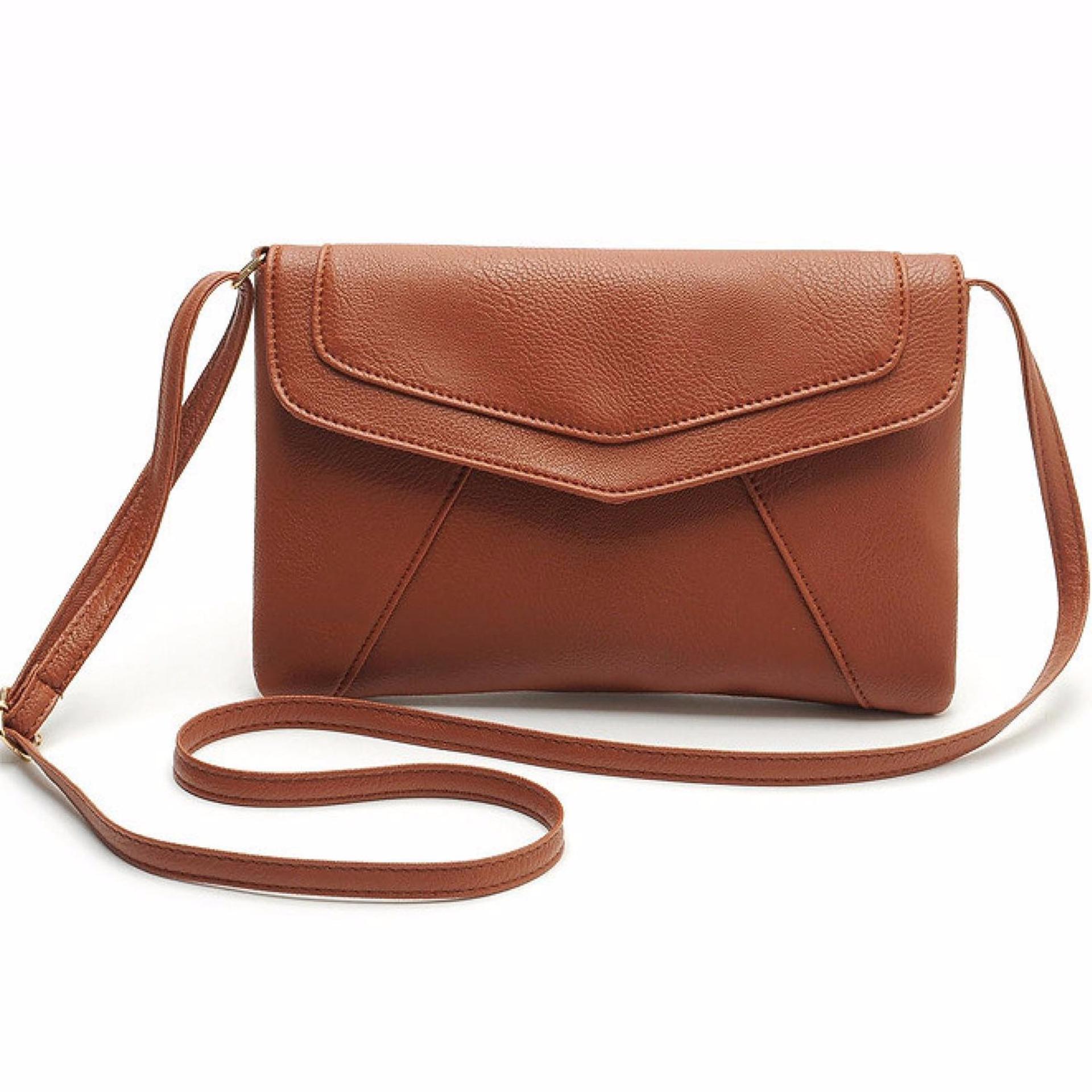 Vienna Linz Tas Selempang Bahu Wanita Jennifer Casual Leather Messenger Handbag s5220 - Brown