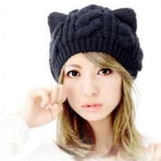 Vienna Linz Topi Kupluk Wol Rajut Wanita Model Cute Cat Telinga Kucing s4133 - Black