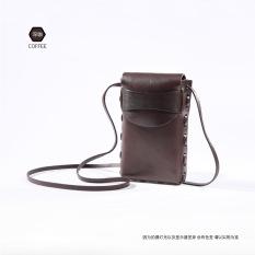 Vintage Tas Wanita Kulit Jepang Tas HP 7 Plus Tas Sayur Kecokelatan Kulit (Kopi Yang Mendalam)