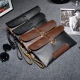 Spesifikasi Vintage Kasual Pria Kulit Clutch Bag Kapasitas Besar Bisnis Tas Amplop Dompet Tas Coklat Atau Hitam Intl Paling Bagus