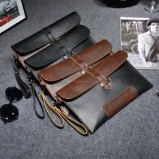 Ulasan Lengkap Tentang Vintage Kasual Pria Kulit Clutch Bag Kapasitas Besar Bisnis Tas Amplop Dompet Tas Coklat Atau Hitam Intl