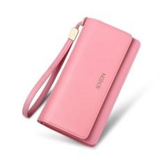 Vintage Clutches Dompet Wanita Kulit Asli Dompet Zipper Dompet Koin Hari Cluthes Tas V5011 (Blush Pink) -Intl