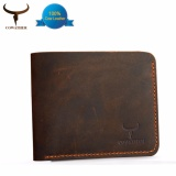 Review Vintage Crazy Top Horse Leather Men Wallets Purse Genuine Leather Wallet Purse Bag For Men Cowboy Top Leather Thin To Put Intl