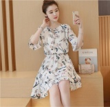 Spesifikasi Vintage Floral Printed Wanita Korea Partysu Dicetak Dress Chic Elegan Chiffon Flare Lengan Bergaris A Ukuran 2Xl 3Xl 4Xl Intl Bagus