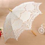 Diskon Vintage Handmade Katun Parasol Renda Payung Pesta Pernikahan Bridal Dekorasi Menangani Panjang 65 Cm Putih Intl