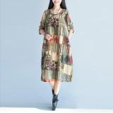 Wanita Vintage Retro Kardingan Lengan Panjang Bermotif Bunga Gaun Panjang Maxi Kaftan Kaos Internasional Indonesia Diskon