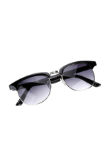 Promo Cyber Gaya Vintage Yang Unisex Kacamata Hitam Bingkai Logam Bundar Candi Plastik Hitam Murah