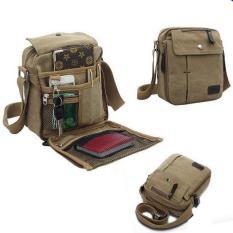 Beli Men Fashion Vintage Style Canvas Multifunction Travel Shoulder Bag Di Tiongkok
