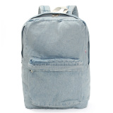 Vintage Unisex Women Denim Backpack Rucksack Sch**l Bookbag Casual Travel Bag Light Blue Intl Asli