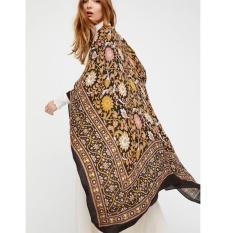 Jual Vintage Wanita Chiffon Kimono Cardigan Etnis Boho Cetak Longgar Panjang Outerwear Beachwear B*k*n* Cover Up Coffee Intl Di Bawah Harga