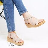 Promo Viola Strappy Wedge Sandals Jp06 Cream Di Jawa Barat