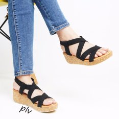 Viola Strappy Wedge Sandals Jp06 Hitam Pluvia Diskon 30