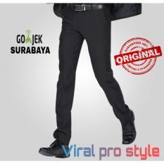 Viral Guido - Celana Panjang Formal Pria - Slimfit - Celana Kerja Kantor - Celana Bahan Kain Gabardine - Hitam - Viral Pro