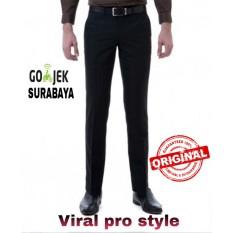 Viral Guido - Celana Panjang Kerja Formal - Celana Formal - Bahan Kain Twist / Teflon - Hitam - Slim Fit - Viral Pro