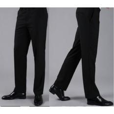 Viral Guido - PROMO - Celana Panjang Formal Pria - Celana Kerja Kantor - Standart - Reguler Fit - Bahan Kain Teflon - Hitam - Aloska
