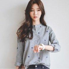 Vlent Daun Bordir Musim Gugur Tops Cotton Casual Striped Kemeja Lengan Panjang Wanita Kantor Baju Blus Plus Ukuran (Biru) -Intl