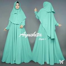 [vlyapriskila] Fashion Muslimah Syari Ayu Gamis dan Bergo Set