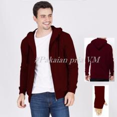 Harga Vm Jaket Korean Style Polos Basic Sleting Hoodie Fleece Maroon Origin