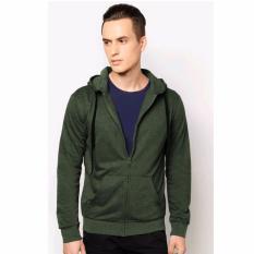 VM Jaket Polos Fleece Hijau Army - Zipper Hoodie