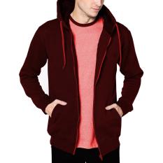 Beli Vm Jaket Polos Zipper Merah Maroon Sleting Hoodie Cicilan