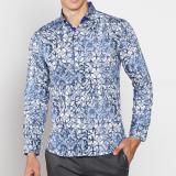 Jual Vm Kemeja Batik Modern Casual Slimfit Panjang Biru Satu Set