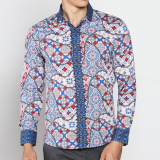 Spesifikasi Vm Kemeja Batik Pria Modern Casual Slimfit Panjang Long Shirt B 165 Yang Bagus Dan Murah