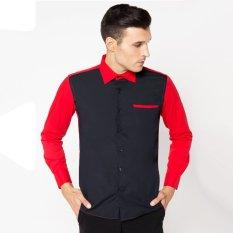 Review Toko Vm Kemeja Fashion Casual Slimfit Putih Kombinasi Hitam Merah Kml 411 Htm
