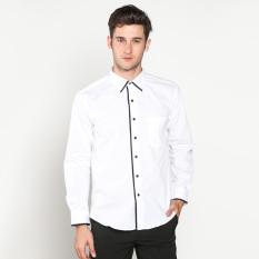 Beli Vm Kemeja Fashion Casual Slimfit Putih Kombinasi Simple List Tangan Panjang Pakai Kartu Kredit