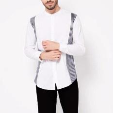 Diskon Vm Kemeja Krah Shanghai Putih Slimfit Mandarin Collar Shirt Branded
