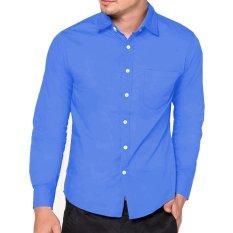 Harga Vm Kemeja Pria Polos Panjang Basic Slim Fit Biru Muda Long Shirt Biru Muda Asli Vm